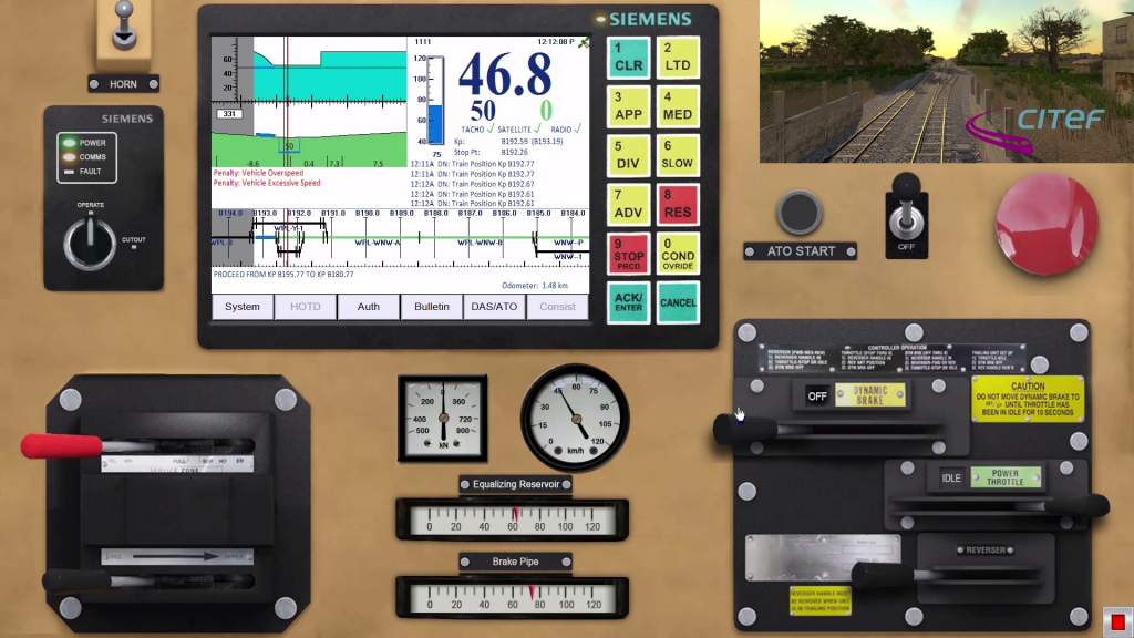 Simulador PTC – Trainguard Sentinel de Siemens